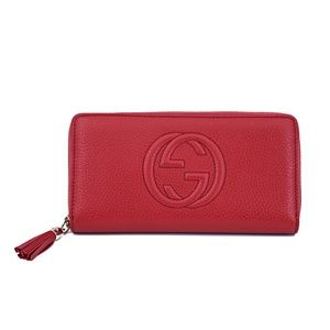 New Gucci Soho Leather Zip Round Wallet